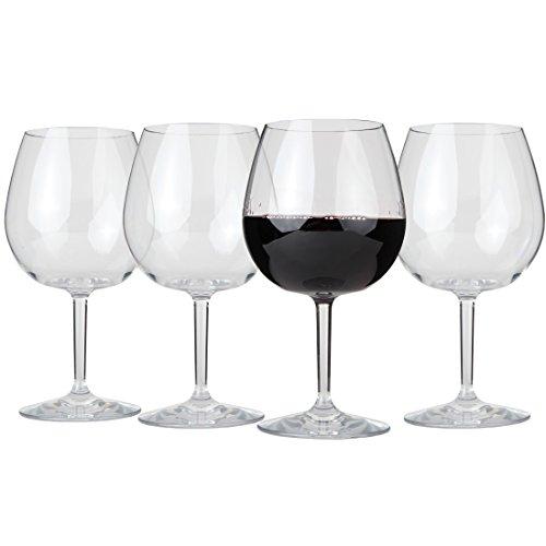 Lilys Home Unbreakable Indoor  Outdoor Pinot Noir  Red Wine Glasses 100 Tritan Plastic Shatterproof and Reusable BPA-free Set of 4