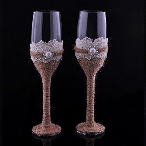 Burlap Lace Design Rustic Wedding Champagne Flutes Wedding Wine Glasses Bride and Groom Toasting Flutes Set of 2