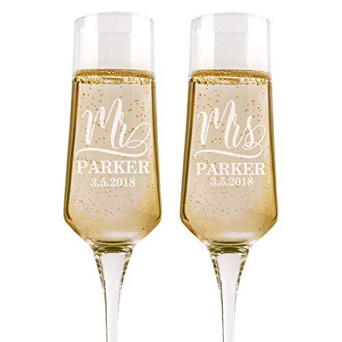 Set of 2 Personalized Wedding Glasses For Bride and Groom Personalized Wedding Champagne Flutes Etched Wedding Toasting Glasses - Heart to Heart Glasses - Customized Wedding Gift 1