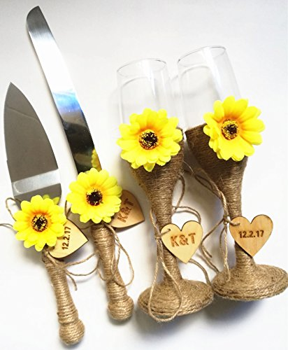 Wedding Flutes Set and Cake Serving Set with Sunflowers Personalized Wedding Cake Knife and Cutting Set Rustic Wedding Toasting Champagne Glasses