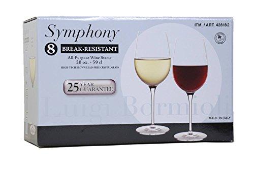 Luigi Bormioli Break-Resistant 8-All Purpose Wine Stems  Wine Glasses 20 oz size each