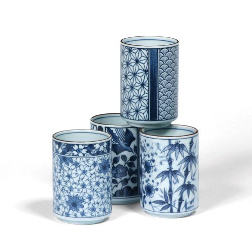 Japanese Assorted Blue and White Teacup Gift Set with Four Assorted Designs by MIYA