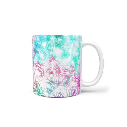 FUNcupshop Funny Ceramic Coffee Cups Colorful Indian Mandala Om Lotus Stars Fantasy Print White Tea Mugs Beautiful Drinking Mugs Colleague Gift MugsCupsBecher White 11oz