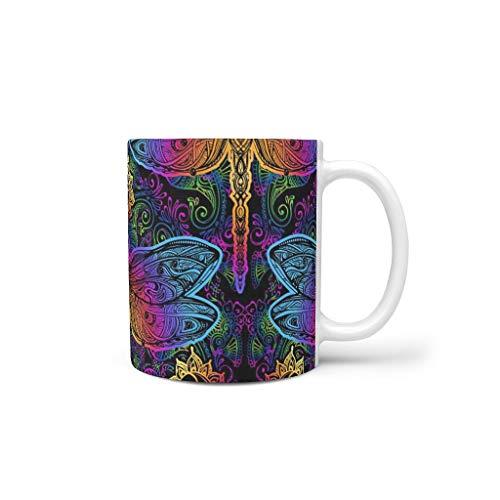 FUNcupshop Funny Porcelain Coffee Mugs Rainbow Mandala Dragonfly Sun Magic Tarot Divination Totem Print White Tea Mugs Creative Drinking Mugs Office Birthday Gift MugCups White 11oz