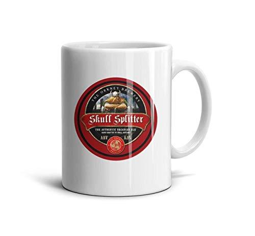 QWQD 100 Ceramic Coffee Mug Cute Orkney Skullsplitter White Tea Mugs-11oz