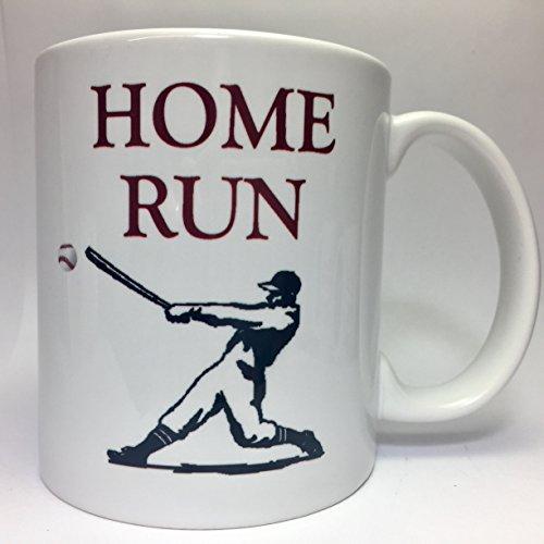 ma160 Home Run Coffee Funny 11oz White Ceramic Tea Cup Mug Best Birthday Major League Baseball Team Gift Present For Family Friend Brother Sister Boy Love Sports