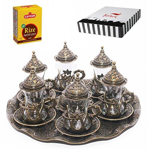 SET of 6 Turkish Tea Glasses Set Saucers Holders Spoons Decorated Autentic Halkali