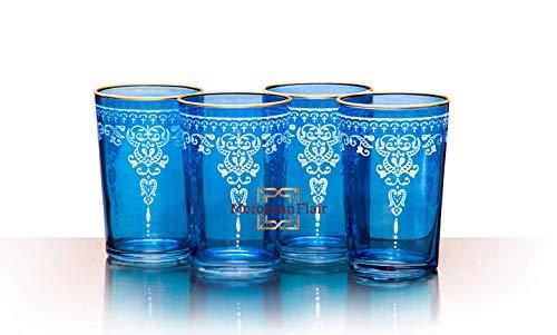 Moroccan Morjana Relief Tea Glasses - Set of 4 Blue