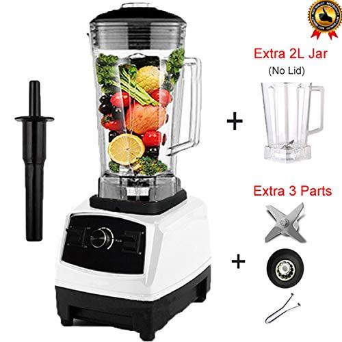 3Hp Commercial Grade Home Professional Smoothies Power Blender Food Mixer Juicer Food Fruit ProcessorWhite Jar Full PartsUk Plug