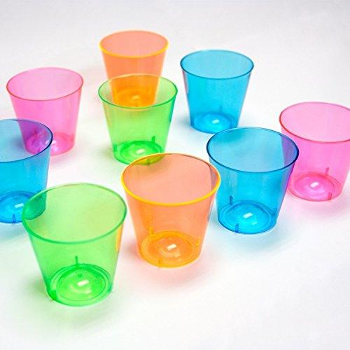 300 Count Neon 1-Ounce Hard Plastic Shot Glasses by KOVOT