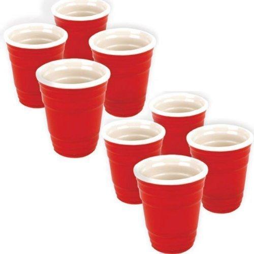 Fairly Odd Novelties 2-Ounce Hard Plastic Shot Glass Cup Red Set of 8
