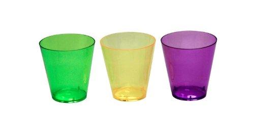 Party Essentials Hard Plastic Shot Glasses 2-Ounce Mardi Gras Mix Box of 60