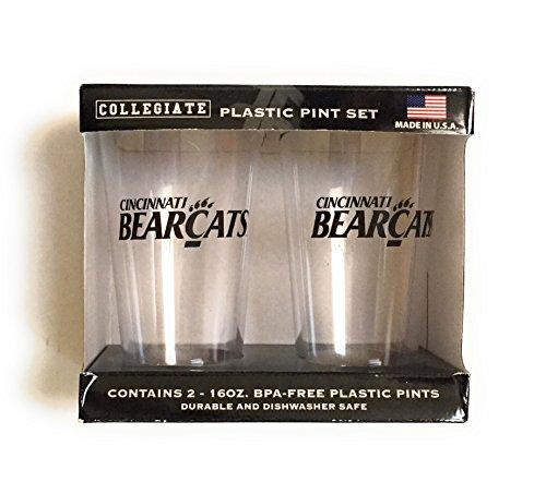 Cincinnati bearcats 2 pack plastic pint glasses