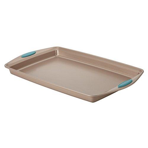 Rachael Ray 46683 11 x 17 Agave Blue Handle Grips Cucina Nonstick Bakeware Baking Pan Cookie Sheet Medium Latte Brown
