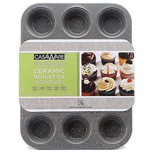 casaWare Ceramic Coated NonStick 12 Cup Muffin Pan Silver Granite