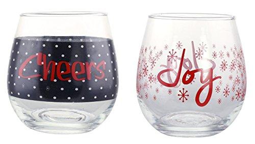 KOVOT Holiday CHEERS and JOY Stemless Wine Glass Set of 2 16 oz