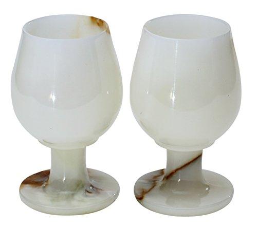 RADICALn Marble Wine Glasses 54 Oz 5 x 3 inches - Set of 2 Wine Glasses White Onyx