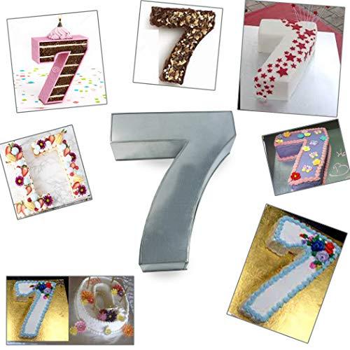 Large Number Seven BirthdayWedding Anniversary Cake TinsPansMould 14 x 10 x 3 Deep