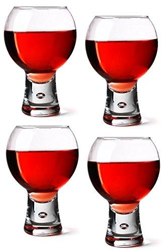 Durobor Alternato Pack of 4 Red Wine Glasses Short Stem Bubble Base Glasses 11oz