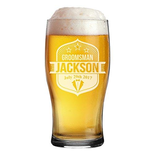 Custom Personalized Pub Pilsner Beer Glasses - Engraved Groomsmen Beer Mug Glass Gifts - 16 oz