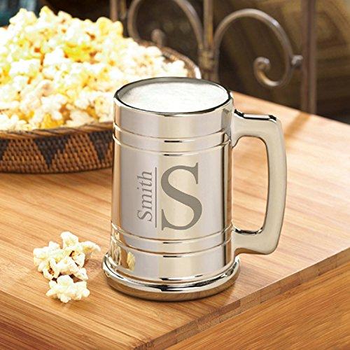 Personalized Gunmetal Beer Mug - Modern Monogram - Groomsmen Beer Mug
