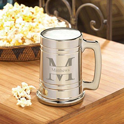 Personalized Gunmetal Beer Mug - Stamped Monogram - Groomsmen Beer Mug