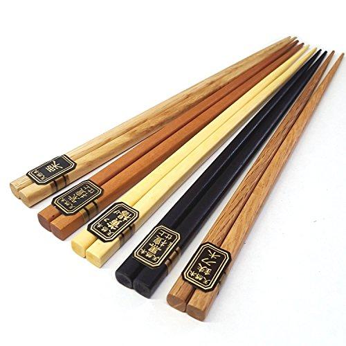 5pcs Japanese Bamboo Chopsticks Gift Set Multi Color Design (mnt)
