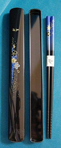 Blue Floral Chopsticks In Case