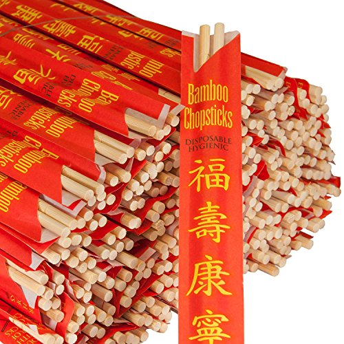"""Royal Paper Premium Disposable Bamboo Chopsticks Sleeved And Seperated (set Of 100), 9"""""""