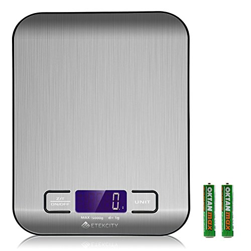 Etekcity Digital Kitchen Scale Multifunction Food Scale 11 lb 5 kg Silver Stainless Steel Batteries Included