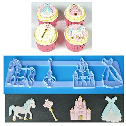 The Easyist Princess Unicorn Cookie Cutter SetInclude Castle princess skirt Trojan magic wand mold,for cupcake decoration
