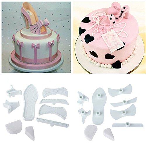 Shopline 9 Pcs Plastic Sandal Fondant Mold Lady High-Heeled Shoes Fondant Cake Sugar Craft Baking Cutter Mold