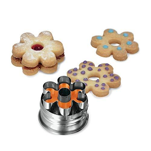 MetaltexRosette Linzer Cookie Cutter Silver