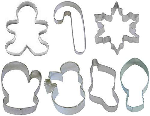 7 Piece Christmas Mitten Snowman Gingerbread Snowflake Cookie Cutter Set New KD-376
