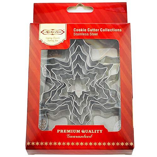 Kanntie Snowflake Cookie Cutter Set - 5 Piece Assorted Szie- Premium Stainless Steel