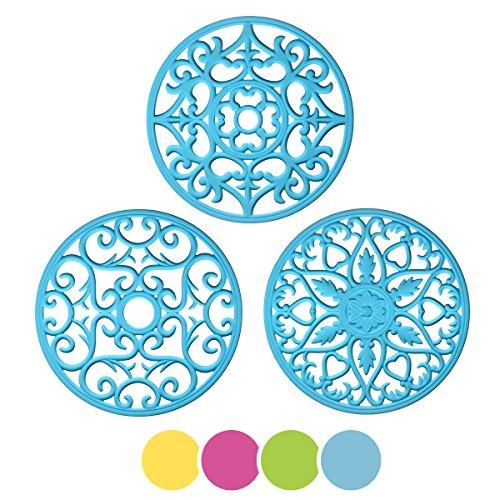 MEFAN Silicone Multi-Use Intricately Carved Trivet Mat Blue Set of 3