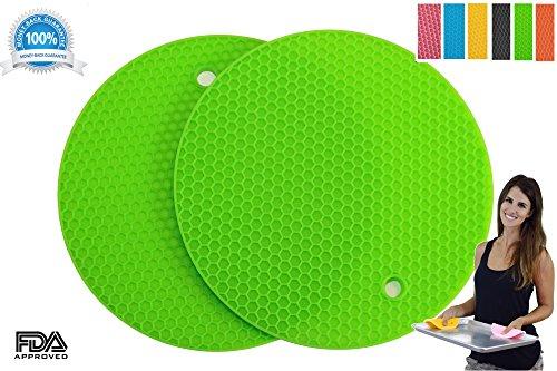 Pot Holders Set of 2 Premium Heavy Duty Multipurpose Silicone Trivets Jar Opener Large Coaster Spoon Rest Flexible Durable Heat Resistant Mat Green