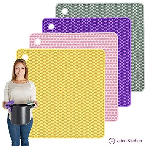 PratiPad 4-in-1 Multipurpose Silicone Pot Holders Trivets Jar Openers Spoon Rests - Set of 4 - PurpleGreyYellowPink