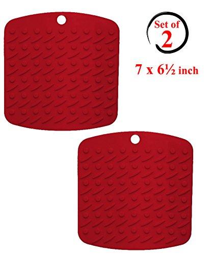 Silicone Pot Holder Trivet and Garlic Peeler Set of 2 Red Hot Pads Trivet Mats - Non Slip Flexible Durable Heat Resistant - Dishwasher Safe Essential Kitchen Cooking Baking Gadget