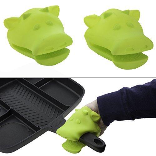 2 Cow Silicone Oven Mitt Set Pot Holder Heat Resistant Dishwasher Safe Green