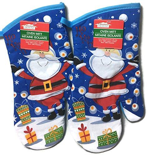 Christmas House 2 Piece Oven Mitt Set Ho Ho Ho ~ Santa
