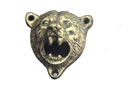 Gift Prod Beer Bottle Opener Cast Iron Wall Mount Grizzly Bear Teeth Bite Bottle Opener Bear Opener Wall Mount Opener Gold Bear Bottle Opener