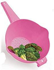 Tupperware 2 Quart Colander Strainer with Handle Pink