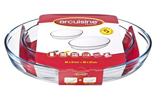 Arcuisine Borosilicate Glass Oval Roaster 2pc Set 118 x 83-Inch 154 x 106-Inch