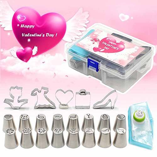 25Pcs Icing Piping Nozzles Valentines Day Limited Edition 16Pcs Newest Design Piping Tips5Pcs Cookie Cutters3Pcs Pastry Bags1Pc Coupler