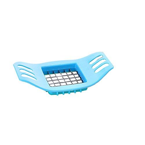 LOHOMETM Creative Plastic and Stainless Steel Kitchen Helper Stainless Blade Fries Potato Chips Cutter Chopper Vegetable Fruit Slicer -BlueGreenOrange Blue
