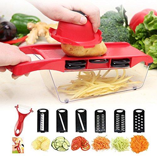 JUMOWA Grater Set Vegetable Chopper Veggie Mandoline Slicer Salad Maker Cutter for Potato Julienne Slicer Potato Chip Maker