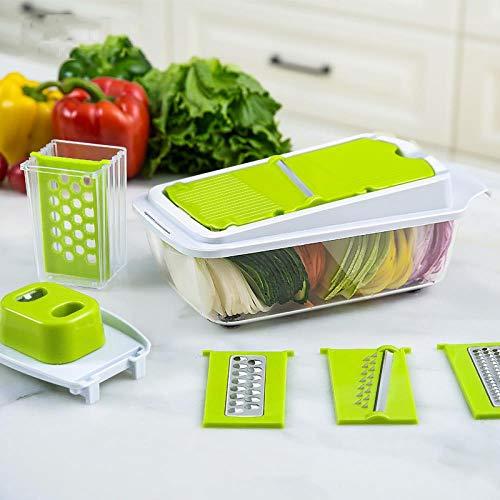 Mandoline Slicer Stainless Steel - Vegetable Spiralizer - Potato Chip Maker with Julienne Slicer - Mandolin Food Cutter for Fruits and Veggies green