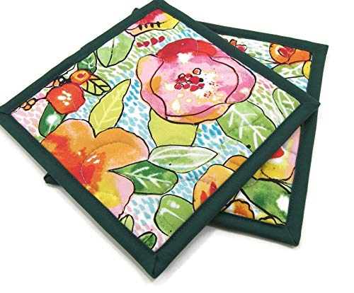 Floral Pot Holders - Colorful Flowers with Green Leaves on White Cotton Fabric - Set of 2-8 inch Square
