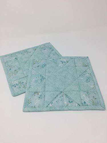 Pot Holders Mug Rugs Trivets Hot Pads Set of 2 Mini Quilts Teal Blue Floral Sawtooth Star Handmade